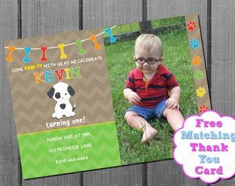 Boy Puppy Dog Birthday Invitation and Free Thank You Card Printable - Boy Dog Birthday Invite with photo