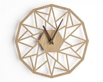 geometric wall clock 40 cm - 16 in | modern wooden clock | geometric clock | laser cut wall clock | wenge wall clock | decorative clock |