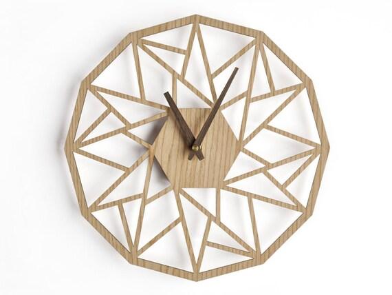 Horloge murale géométrique en 40 cm 16 en horloge en bois moderne horloge géométrique horloge murale de découpe au laser horloge murale wenge
