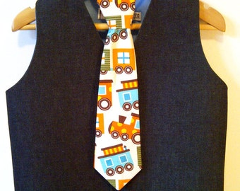 Boys Baby Waistcoat & Tie - Special Occasionwear - Wedding Pageboy - Trains Steam Train SALE