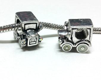 3 Beads - Truck Vehicle White Enamel Tires and Rhinestone Headlight Silver European Bead Charm E1398