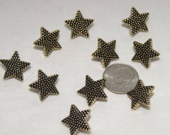 10 Gold Star Buttons, Pebbled, Antiqued Gold Tone Shank Back Buttons Craft Sewing buttons (Aj 72)