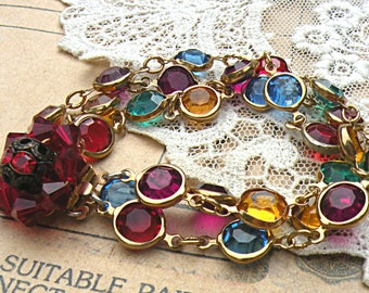 upcycled jewelry bracelet assemblage jewels romantic red ruby color crystal clasp flea market jewelry cottage chic