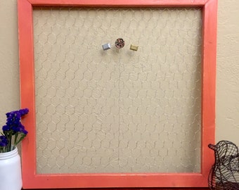"""20"""" x 20"""" Frame Chicken Wire Rustic Magnetic Frame, Custom Color Open Wired Frame"""