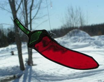 chili pepper stained glass suncatcher