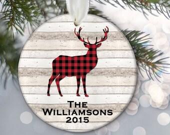 Woodland Family Name Ornament, Woodland Bear Ornament, Woodland Deer, Woodland Moose, Personalized Christmas Ornament, Christmas Plaid OR765