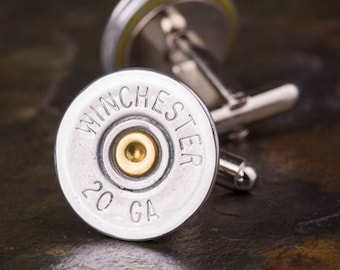 Shotgun Cufflinks, Winchester 20 Gauge Nickel Shotgun Cufflinks, Wedding Cufflinks, Groomsmen Gifts, Bullet Cufflinks, 20 Gauge Cufflinks