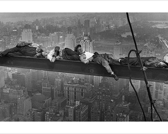 Vintage Photo Poster Black & White Construction Workers Above City Prized Rare 24x36