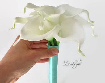 CHOOSE RIBBON COLOR - White Calla Lily Bouquet, Ivory Calla Lily, Real Touch Bouquet, Wedding, Bridesmaid, Bridal, Toss Bouquet, Wedding