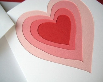 Layered Love in Pink - one hand cut art card