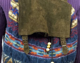 C114 backback made from a felted recycled wool sweater, suede flap and straps, lined