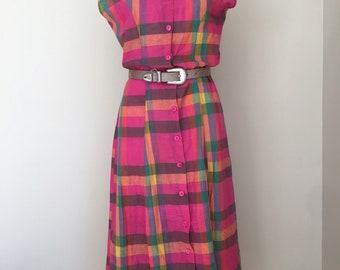 Vintage ankle-length pink plaid cotton market dress