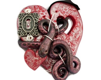 Polymer Clay Red Broken Heart Necklace