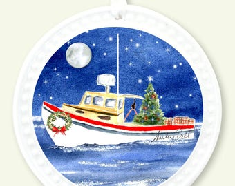 lobster boat Christmas ornament-  nautical ornament- ornament christmas personalized - boat ornament- holiday gift- fishing boat ornament