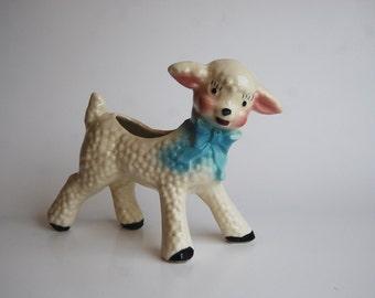 Vintage Lamb Planter, Nursery Decor, New Baby