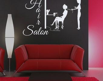 Wall Decal Hair Salon Sign Murals Hairdresser Hairstyle Hair Barbers Hairdo Hairdressing Tools Beauty Salon Vinyl Sticker Home Decor M246