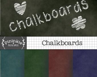 Chalkboards Digital Paper - INSTANT DOWNLOAD - Back to School Digital Scrapbooking Papers - Commercial Use (CU) - teacher appreciation