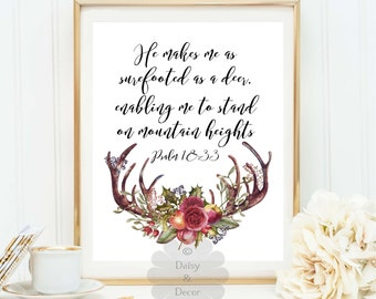 Psalm 18:33 He makes me surefooted as a deer antlers print Bible verse printable typography poster scripture print calligraphy, typographic