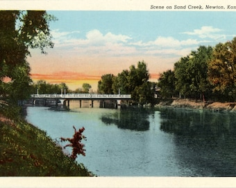 Sand Creek Sunset Newton Kansas Vintage Postcard (unused)