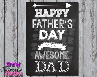 Printable Chalkboard FATHER'S DAY CARD - Awesome Dad Father's Day Card - Diy Father's Day Card - Father's Day Instant Download - Dad's Day