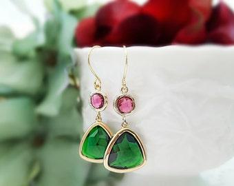 Green Red Earrings - Christmas Earrings Dangle - Emerald Teardrop Earrings - Ruby Emerald Earrings - Crystal Tear Drop Earrings Gold E2525