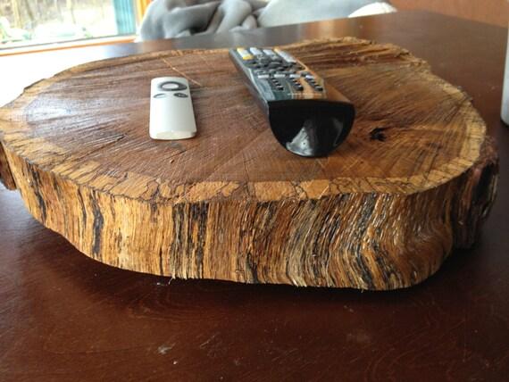 Large Rustic Wood Slab Turn Table Lazy Susan