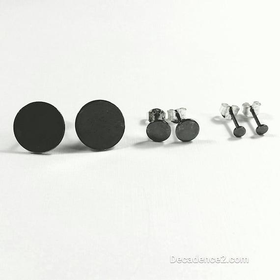 Oxidized Sterling Dot Post Earrings in 3 Sizes