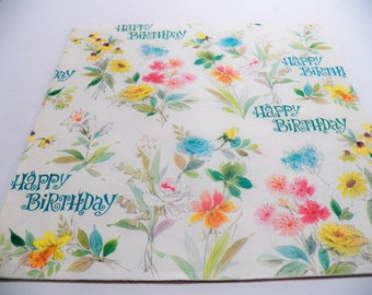Vintage Wrapping Paper, Vintage Gift Wrap,Floral Gift Wrap, Happy Birthday Gift Wrap, One sheet 19X29 inches, Scrapbook Craft paper, Floral