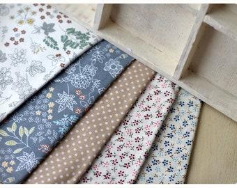 Set  bundle of 5 Fat Quarters Cotton fabric each 1/4 Yard
