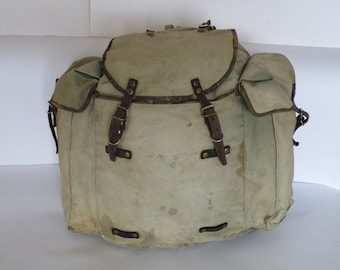 Vintage military canvas backpack, Distressed washed out backpack, Big travel backpack, Army, Hiking backpack