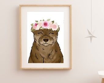 Sea Otter, Art Print, Otter Print, Nursery Wall Art, Nursery Art, Nursery Decor, Gift for Her, Nursery Print,