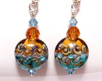 Blue Earrings, Blue and Gold Lampwork Earrings, Blue Swarovski Crystal, Blue Dangle Earrings, Lampwork Jewelry