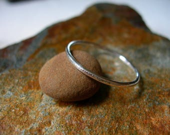 Smooth or Hammered Sterling Silver Ring Thin Band