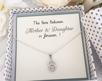 LOVE between MOTHER and DAUGHTER-necklace knot shape-elegant silver necklace-Love knot-two entwined circles-sparkle pendant-lovely circles