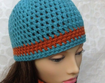 Boho Blue Beanie Handmade Crochet Wool Hat Festival Fashion Summer Beanie Gift for Her 21st Birthday Girlfriend Gift Minimalist Hat