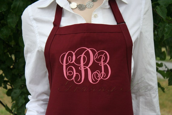 """NO pockets Burgundy Wine + Mauve EXtra long """"sBe"""" font monogram bow or not apron (28""""L x 24""""W) Holiday gift, Wedding, Bride, New last name"""