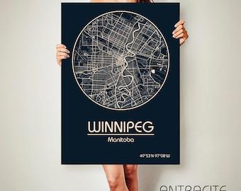 WINNIPEG Manitoba Canada CANVAS Map Winnipeg Manitoba Canada Poster City Map Winnipeg Manitoba Canada Art Print Winnipeg Manitoba Canada