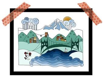 Portland city print, Mount Hood, 8x10 illustrated print