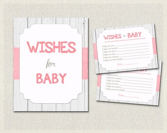 Wishes for Baby Coral White Wood Rustic Girls | Baby Wish Cards | Baby Shower Activities Gender Neutral Baby Shower BS-54