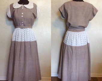 Vintage 1940's 50's Darling Brown Chambray Cotton Day Dress M