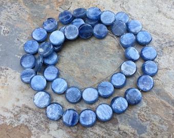 Kyanite Disk Beads, Kyanite Beads, Natural Kyanite, Kyanite Coin Beads, 9mm, 16 inch strand