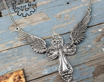 Winged Cross Necklace - Inspired by Antique Victorian Silverware - Handmade Jewelry By Doctor Gus - Replica Ornate Pewter Cross Necklace
