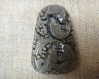 Natural gold Obsidian Fish Pendants mascot