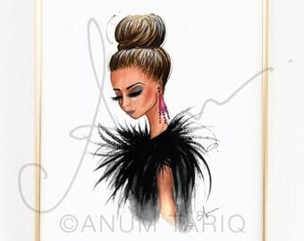 "Fashion Illustration Print, Feathers, 8x10"""