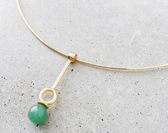 Gemstone Drop Choker Necklace / Multi-way / lapis lazuli, malachite, or aventurine / 14k gold vermeil