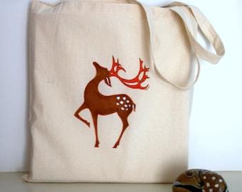 Deer Tote Bag, Hand Painted Woodland Reindeer Tote Bag