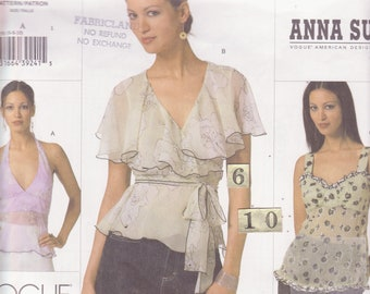 Ruffled V Neck Blouse Sewing Pattern/ Vogue 2850 Anna Sui, Womens Summer, Feminine, Fitted, Empire Waist, Halter Top, UnCut/ Size 6 8 10