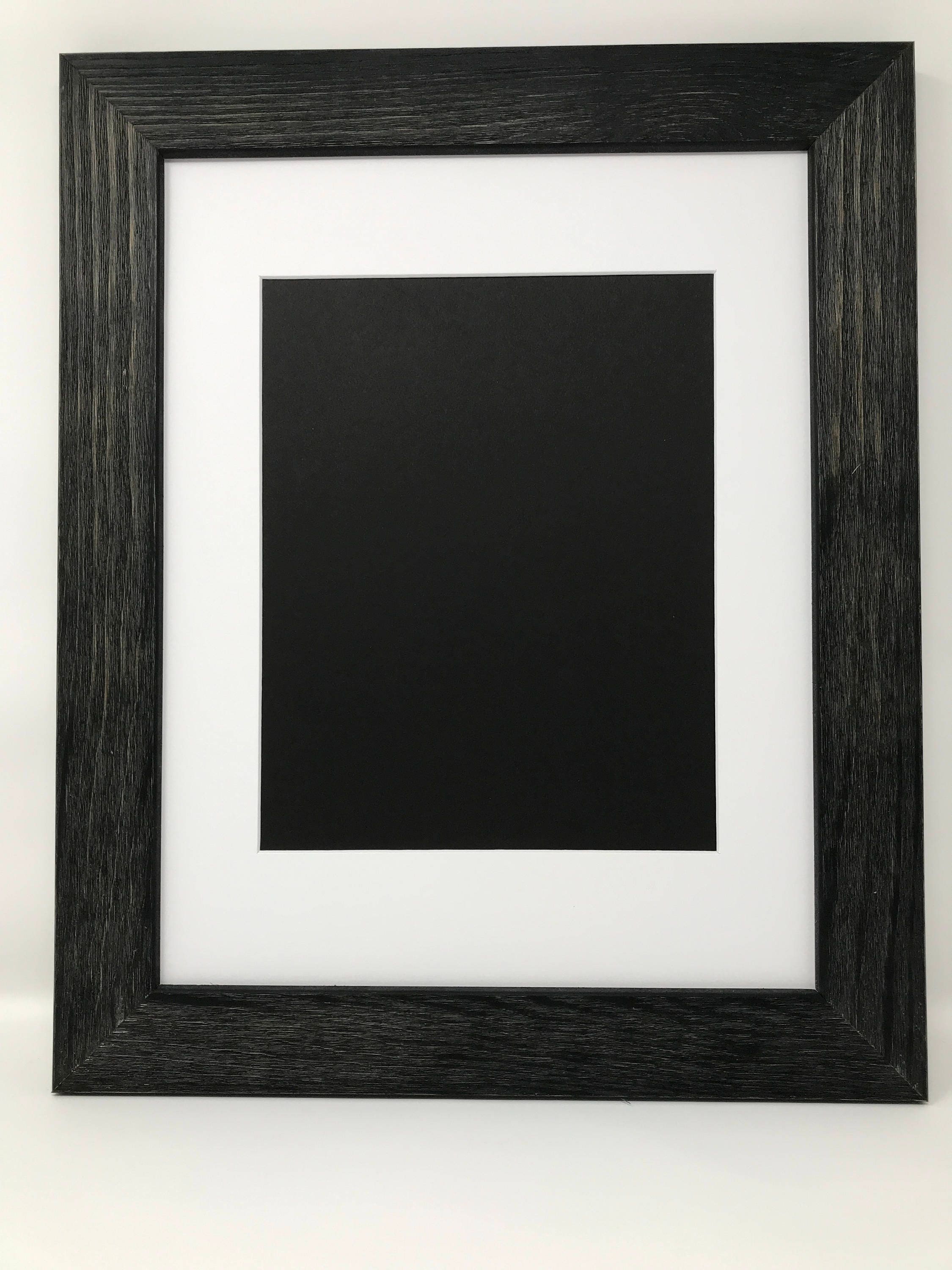 11x14 1.75 Rustic Black Solid Wood Picture Frame with White Mat Cut ...