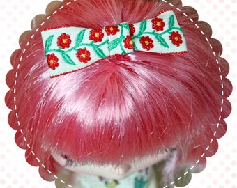 Vintage Ribbon Hair Bow for Blythe / Red Floral