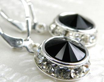 Black Earrings, Round Swarovski Crystal Black Onyx Earrings, Silver Rhinestones, Bridesmaids Earrings, Wedding Gift Idea, Handmade Jewelry